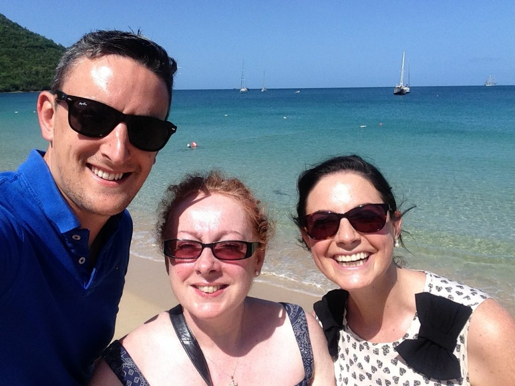 Sean, Noreen, and Aine from Exceptional Villas putting in the hours at Reduit Beach. Apparently, one of the best things to do in St Lucia is to get paid to experience all of the best things to do in St Lucia