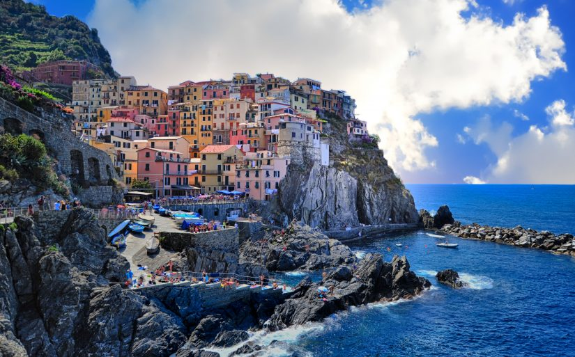 One of the best things to do in Positano is visit the scenic town Amalfi, shown in this image taken from the water