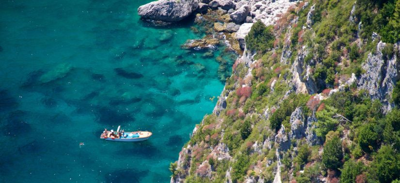 A nippy looking speed boat anchored off a rocky, shrub covered cliff at Capri