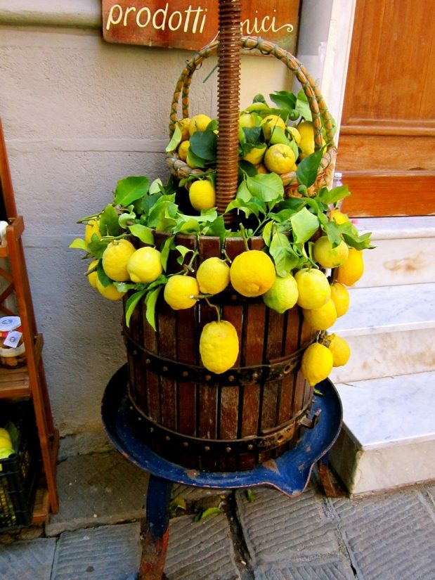 a delightful arrangement of vibrant lemons used in cooking in all the best Amalfi Coast resstaurants