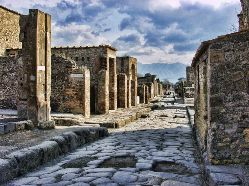an ancient Roman street to admire the multi-coloured marble work and surviving frescos