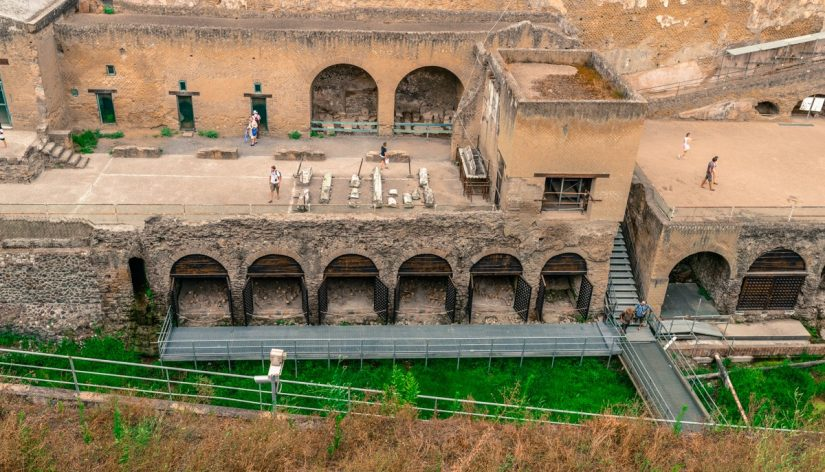 An elevated view of the ruins at Herculaneum