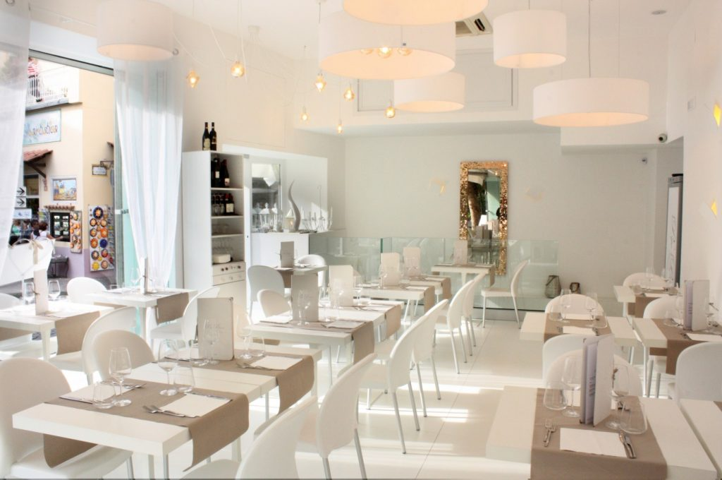 The dining area at Pepe Bianco is, as the name suggests, really white. People will definitely notice if you spill your wine here
