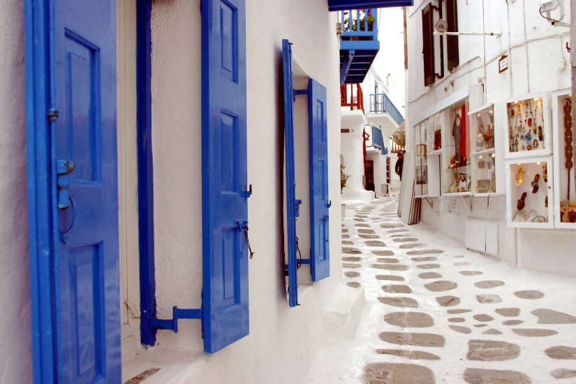 One of the best things to do in Mykonos is to take a shopping trip through the narrow and pristinely white streets.