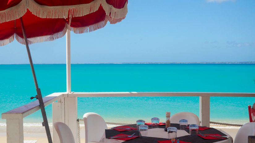View of the astonishingly blue sea from the Rainbow cafe on Grand Case beach