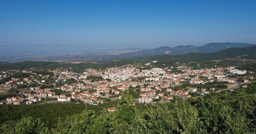 A view of the town of Polygyros and its surrounding landscape from an elevated position