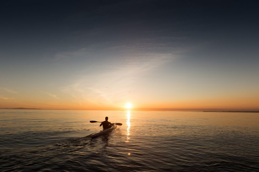Kayaking into the sunset, magical