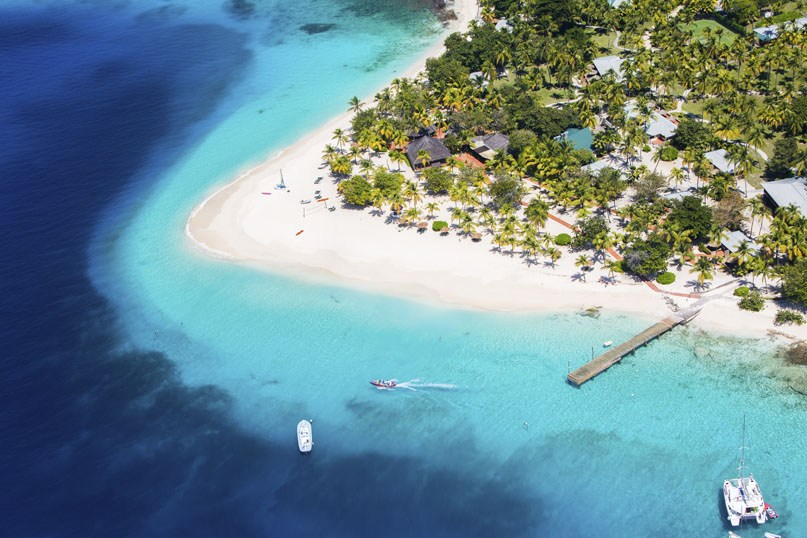 Aerial shot of Palm Island in the Grenadines.