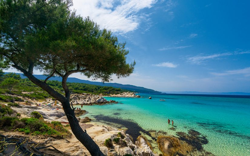Things to do in halkidiki - visit Sithonia! Pictured here is a beach at Sithonia