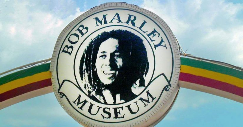 Great Big sign of Bob Marley at the Bob Marley Museum