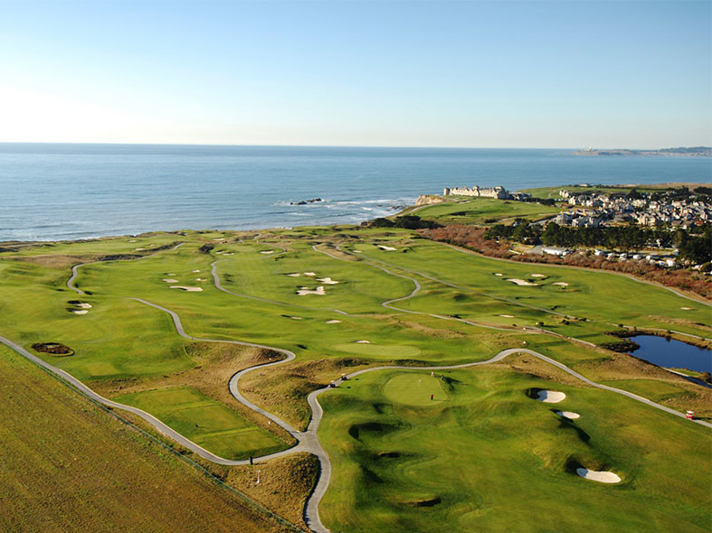 Here you can see the grounds of the incredible Half Moon Golf Course from above. With expansive courses and perched right along the shoreline where else you would want to be.