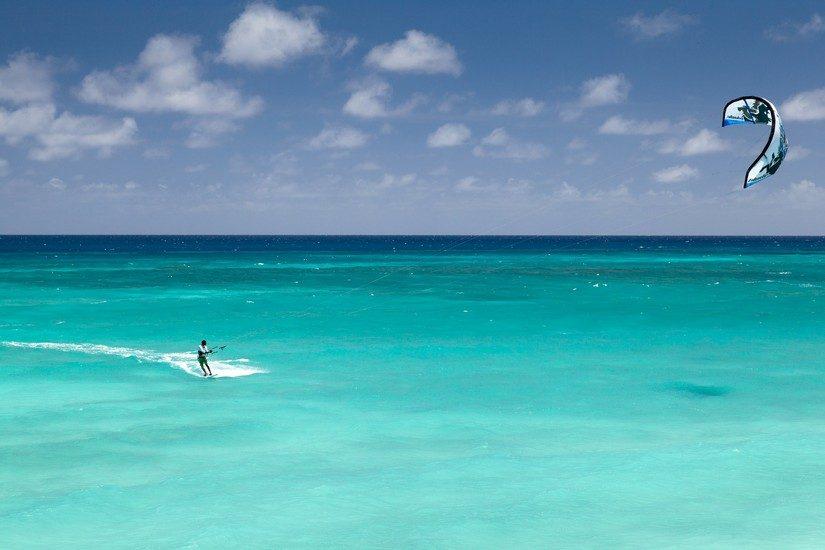 Kite surfing in the beautiful Caribbean Ocean