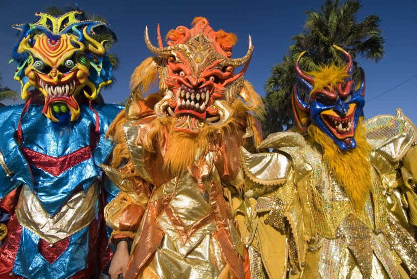 Colourful carnival costums at the dominican republic. Almost creepy, in fact.