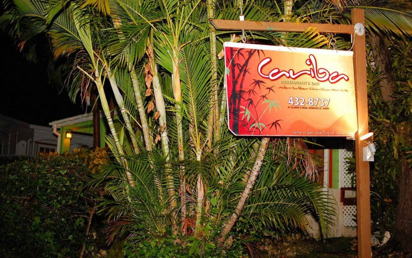 The Exterior and sign at Cariba one of the best restaurants in Barbados