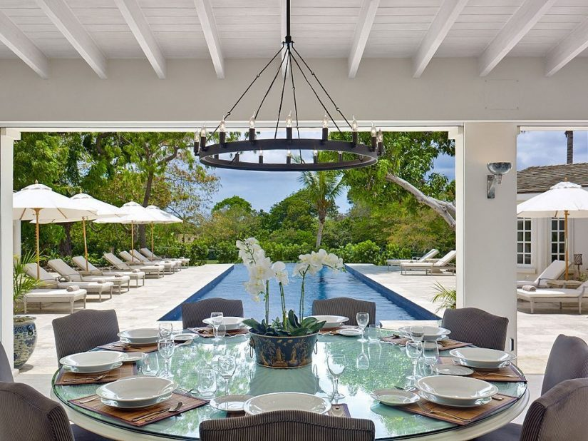 Covered dining area next to pool at Casablanca Barbados holiday rental at Sandy Lane Estate