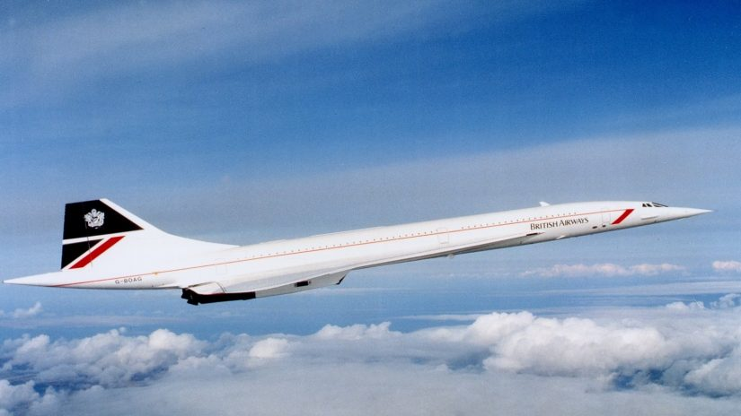 Concorde soaring through the air on its's way to Barbados