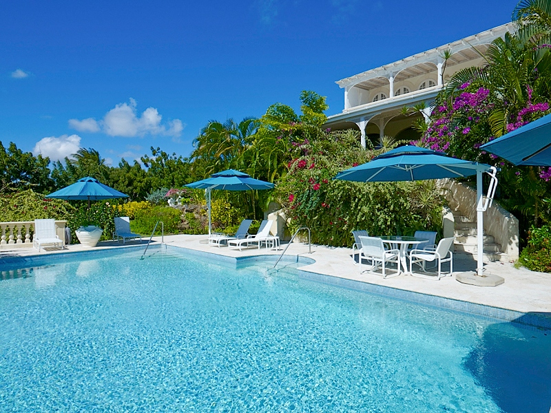 Massive pool area at Fig Tree House in Barbados