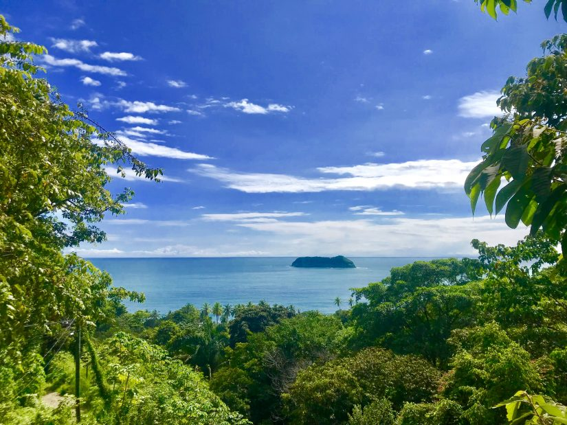 View from the forest across the sea to a lovely Costa Rican island