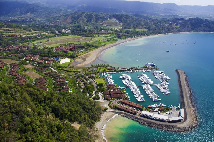 An aerial view of a marina in Costa Rica