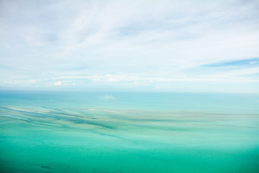 Aerial view of the Caribbean sea from a resort in Turks and Caicos