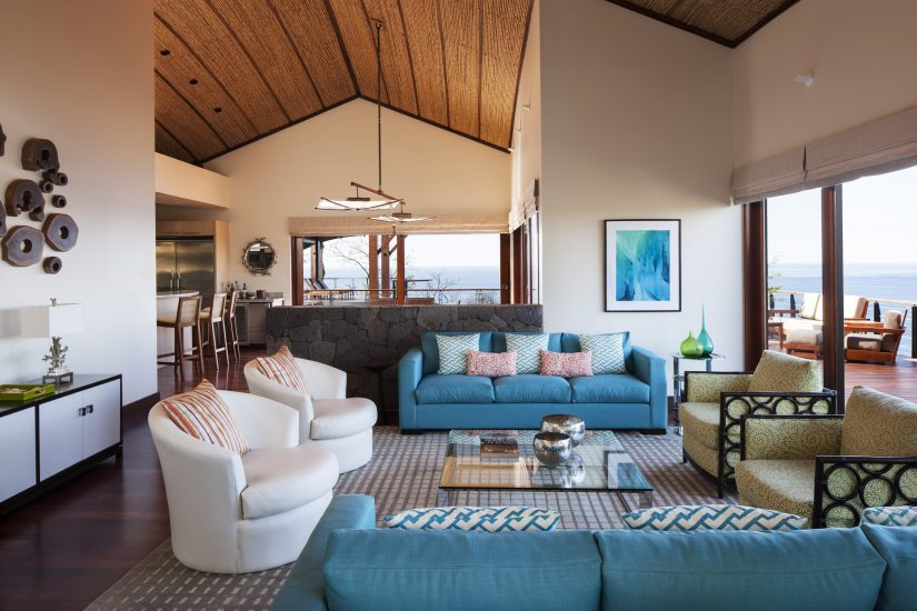 The living area at Casa de luna villa in costa rica. Opulent furnishings that allow you to luxuriate while being soothed by 180 degrees of Pacific ocean