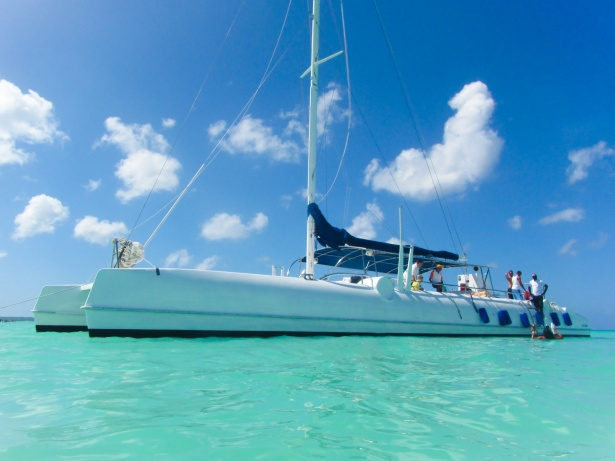 Things to do in st john's Antigua, is book a Catamaran boat trip from the dock onto the Sea