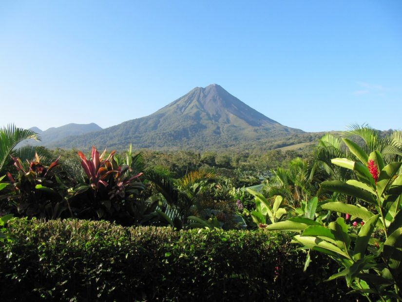 Costa Rica restaurants in La Fortuna enjoy the panoramic views of the famous Arenal Volcano.