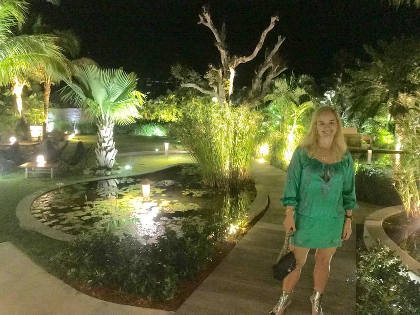 Alexandra Baradi in the garden at Tamarin restaurant