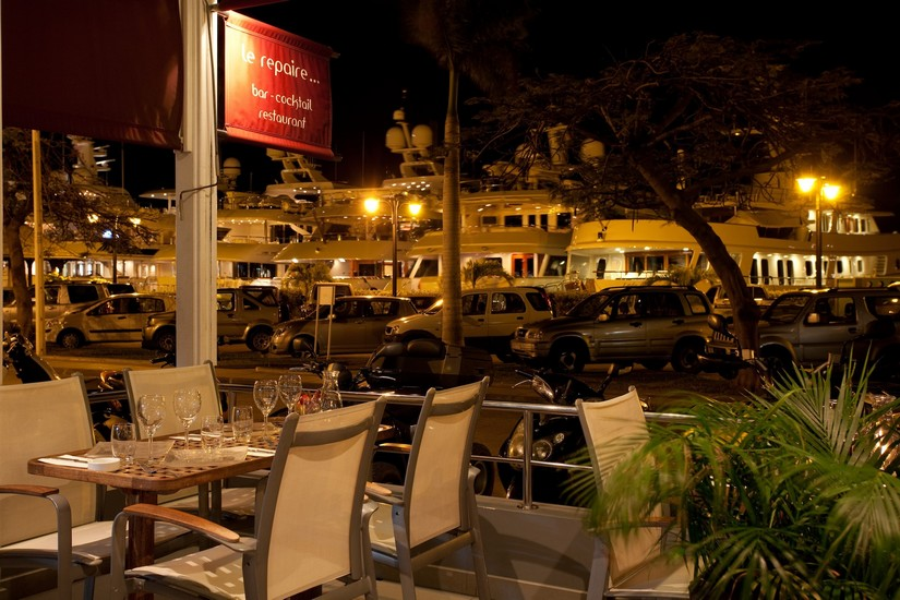 View of the Gustavia harbour from the outside dining at Le Repaire restaurant