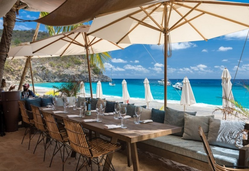 Shellona Beach restaurant overlooking shell beach on an incredibly sunny day in St Barts
