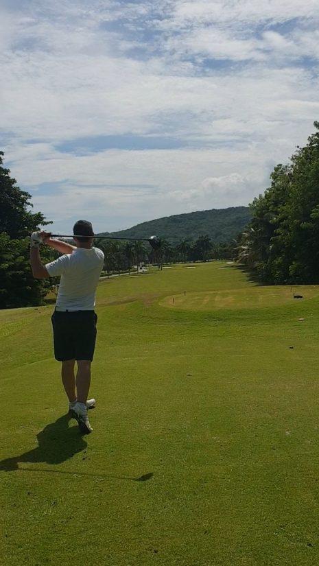 sean playing golf at Tryall Jamaica