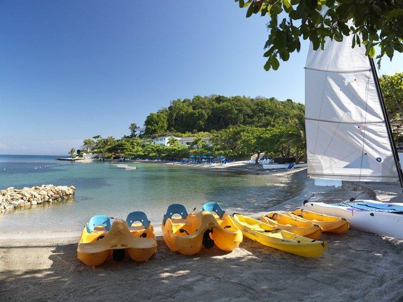 kayacks on beach round hill jamaica resort