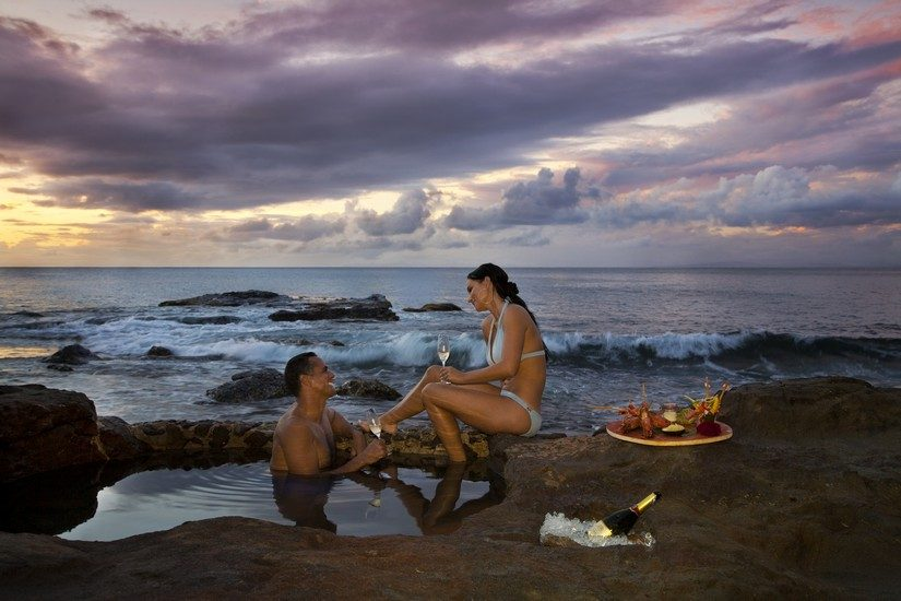 Rock Pool with Couple at a St Lucia Resort