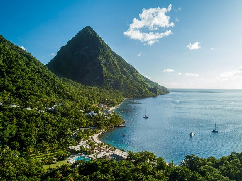Aerial View Sugar Beach St Lucia Resort