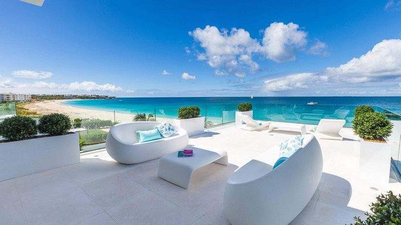 terrace and view from The beach house on meads bay one of the best beaches in anguilla