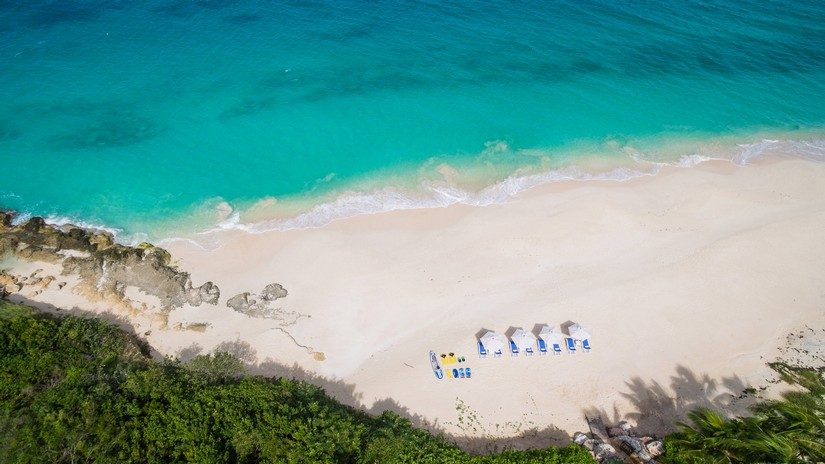 sun loungers on the beach in anguilla