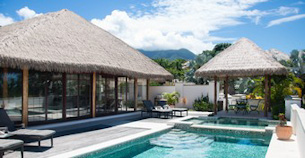 Palm thatched luxury villas by a deep turquoise pool in Nevis