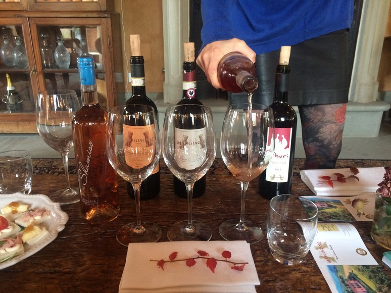 A sample of some of the fine wines produced on the Machiavelli Villa estate