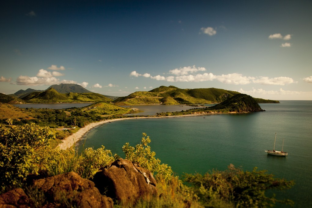Elevated view of St Kitts in the Caribbean