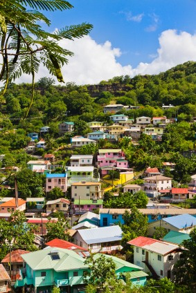 The colorful villas of Castries in St Lucia cling to the hillside