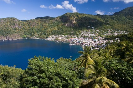 View of Soufriere from the hills of St Lucia