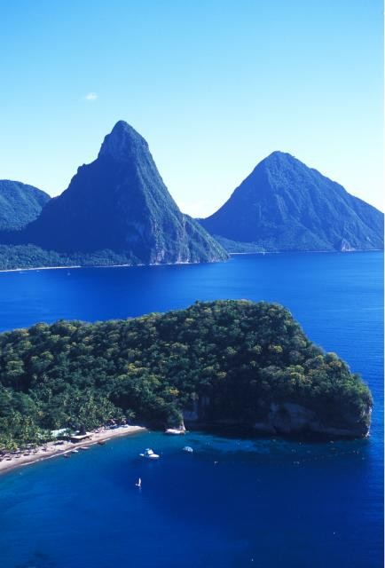 View of the Pitons and beach in St Lucia