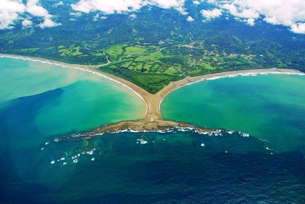 Coasta Ballena beach in the South Pacific is shaped like a whales tail
