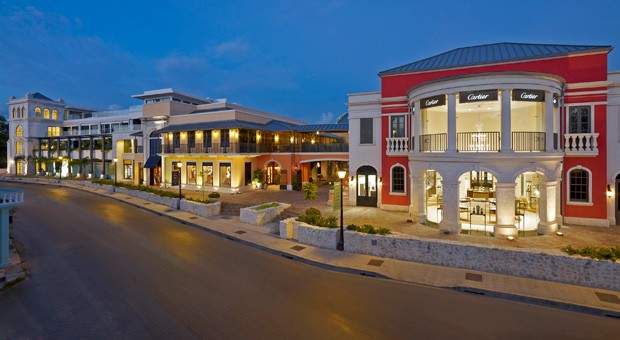 The Limegrove Shopping Center in the early evening