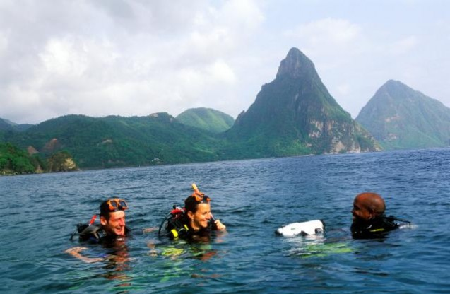 Vacation makers enjoy sea water sports in St Lucia