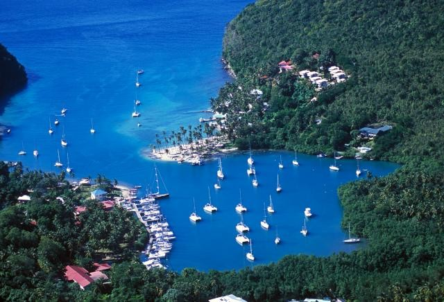 Aerial view of Marigot, St Lucia