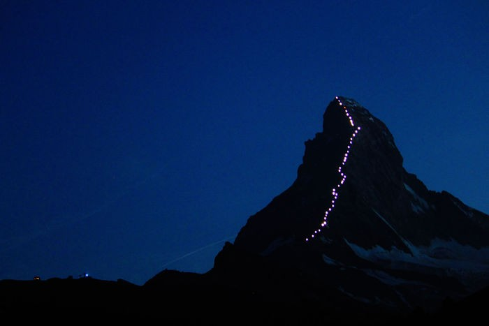 The Matterhorn Illuminated by solar lights all the way to it's summit