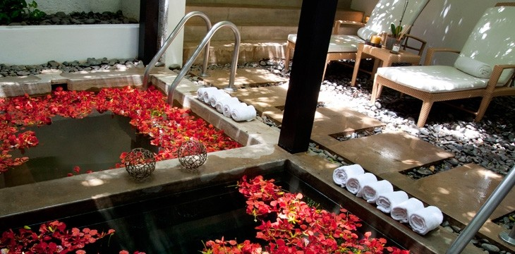 Rose petal infused bathing at Casa de Campo