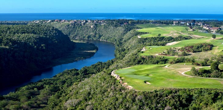 Aerial view of the teeth of the dog golf course at Casa de Campo