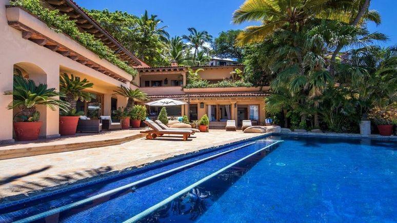 The pool area and sun loungers at Casa Velas in Puerto Vallarta